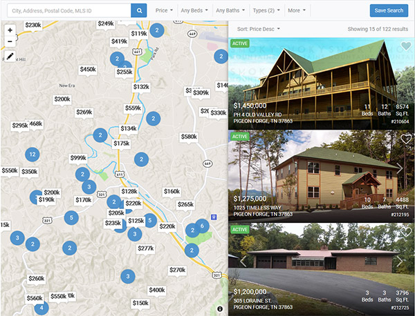 real estate website with map search